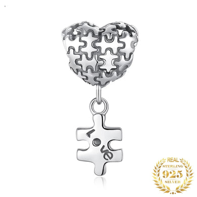 925 Sterling Silver Puzzle Piece from Heart Pandora Compatible Dangle Charm