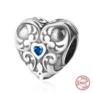 925 Sterling Silver Vintage Heart Blue CZ Pandora Compatible Bead Charm