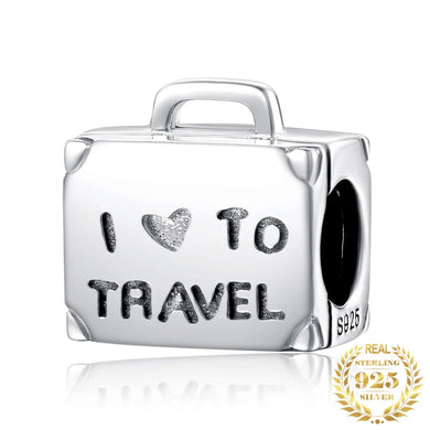 925 Sterling Silver I Love to Travel Suitcase Pandora Compatible Bead Charm