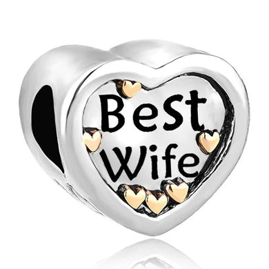925 Sterling Silver (Gold Plated) Best Wife Heart Pandora Compatible Bead Charm