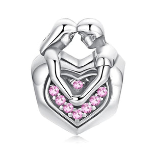 925 Sterling Silver CZ Husband and Wife Love Heart Pandora Compatible Bead Charm
