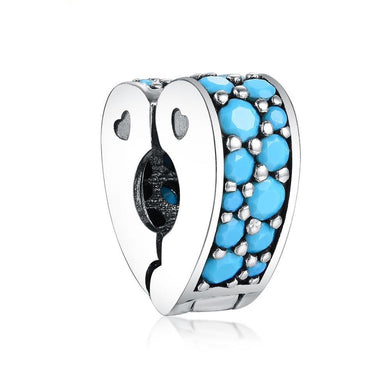 925 Sterling Silver Blue Heart Pandora Compatible CLIP