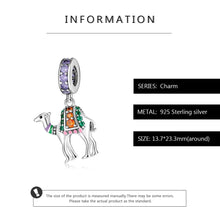 Load image into Gallery viewer, 925 Sterling Silver Coloured CZ Camel Pandora Compatible Dangle Charm