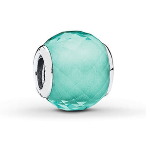 925 Sterling Silver Geometric Teal Facet Pandora Compatible Bead Charm