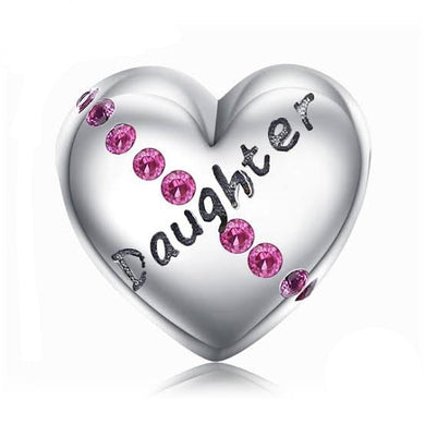 925 Sterling Silver Pink CZ Daughter Engraved Heart Pandora Compatible Bead Charm