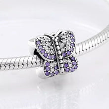 Load image into Gallery viewer, 925 Sterling Silver Purple and Clear CZ Butterfly Pandora Compatible Bead Charm