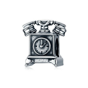 925 Sterling Silver Old Telephone Pandora Compatible Bead Charm