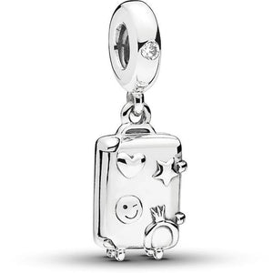 "925 Sterling Silver ""Ready ro Explore"" Travel Suitcase Pandora Compatible Dangle Charm"
