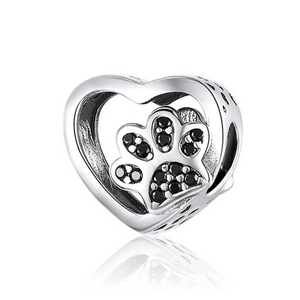 925 Sterling Silver Black CZ Paw Print in my Heart Pandora Compatible Bead Charm