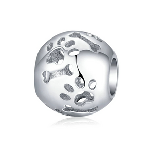 925 Sterling Silver Paws and Bones Pandora Compatible Bead Charm