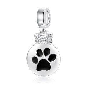 925 Sterling Silver Black Paw and CZ Bow Pandora Compatible Dangle Charm