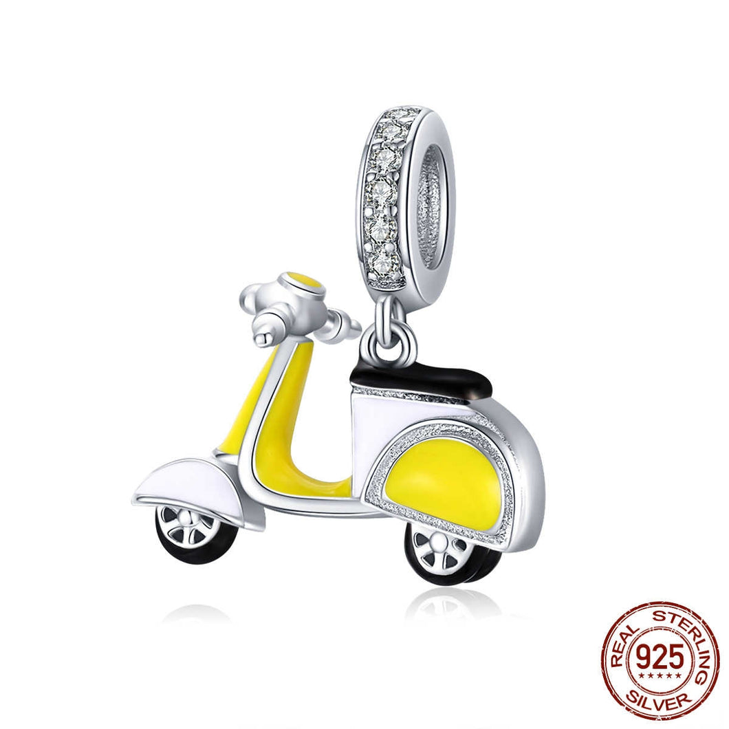 925 Sterling Silver Yellow Scooter Pandora Compatible Dangle Charm
