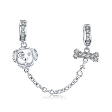 925 Sterling Silver Dog and Bone Silicone Pandora Compatible Safety Chain