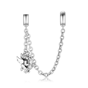 925 Sterling Silver Cupid Silicone Pandora Compatible Safety Chain