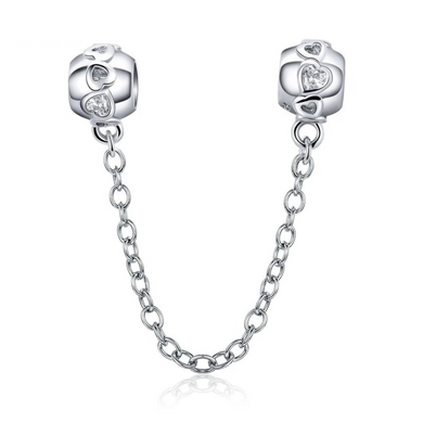 925 Sterling Silver Clear CZ Hearts Screw on Pandora Compatible Safety Chain