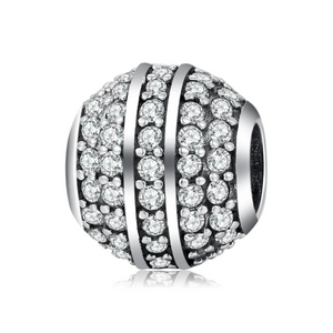 925 Sterling Silver Clear CZ Glitter Ball Pandora Compatible Bead Charm