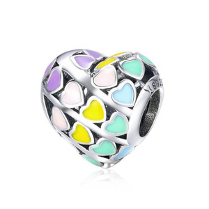 925 Sterling Silver Rainbow Heart Enamel Colour Pandora Compatible Bead Charm