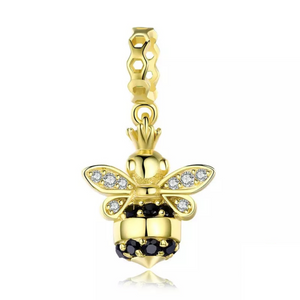 925 Sterling Silver Queen of Bee Gold Color Bee Pendant Charm