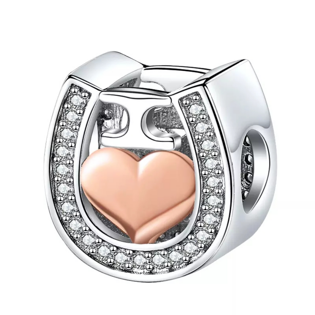 925 Sterling silver I LOVE YOU Horseshoe Pandora Compatible Bead Charm
