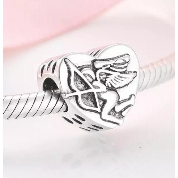 925 Sterling Silver Cupid Love Heart Pandora Compatible Charm