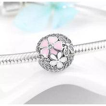 Load image into Gallery viewer, 925 Sterling Silver CZ Daisy Ball Pink and White Enamel Pandora Compatible CLIP