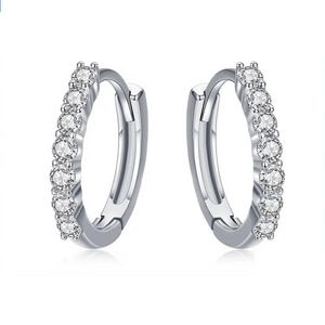 925 Sterling Silver CZ Crystal Circle Round Earrings for Women