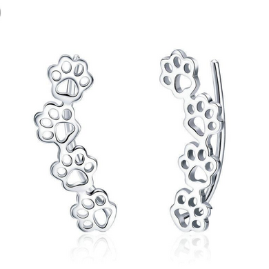 925 Sterling Silver Cat and Dog Paw Prints Trail Stud Earrings
