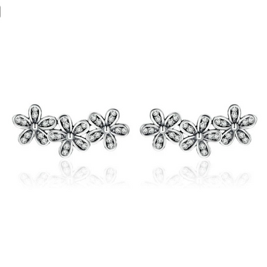 925 Sterling Silver Stackable Daisy Flower Clear CZ Stud Earrings for Women Sterling Silver Jewelry Gift SCE419