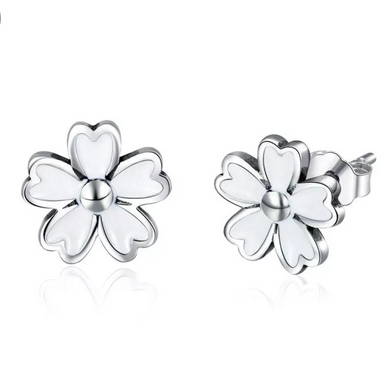 925 Sterling Silver White Enamel Daisy Flower Stud Earrings