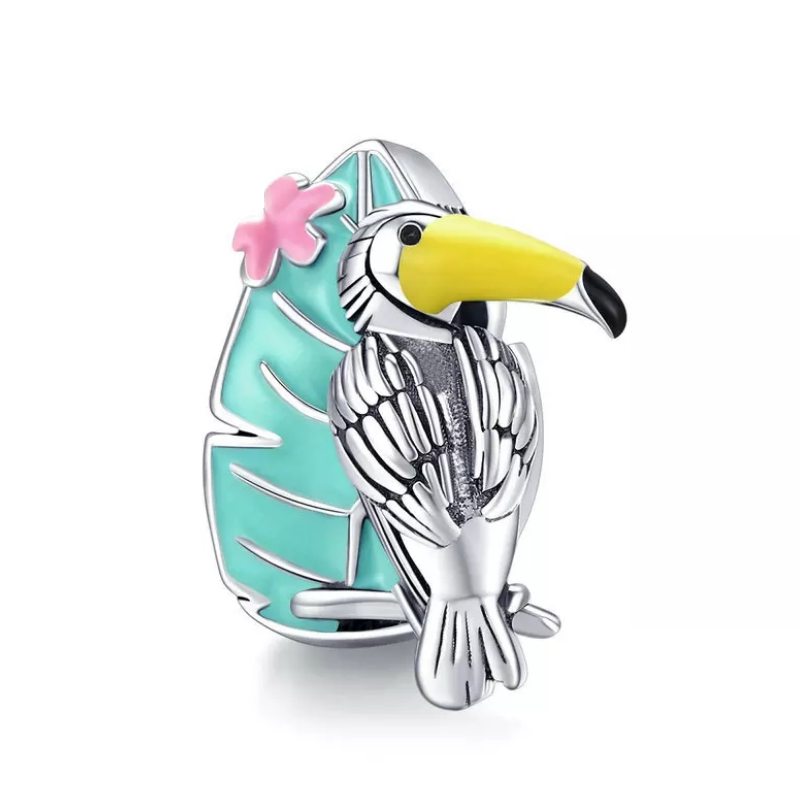 925 Sterling Silver Tropical Toucan Pandora Compatible Bead Charm