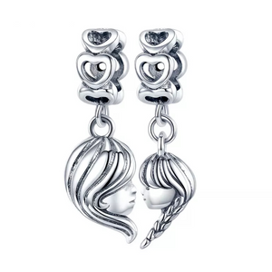925 Sterling Silver Mother and Daughter Faces SET Pandora Compatible Dangle Charm