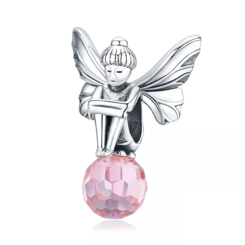 925 Sterling Silver Pink Crystal Elf Fairy Pandora Compatible Bead Charm