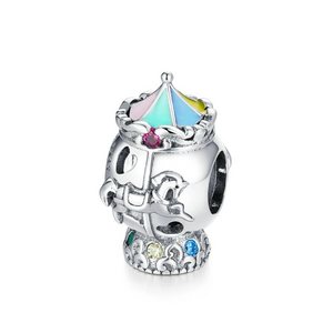 925 Sterling Silver Circus Carousel Pandora Compatible Bead Charm