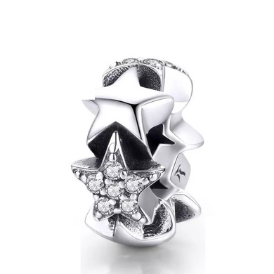 925 Sterling Silver CZ Star to Star Pandora Compatible Spacer