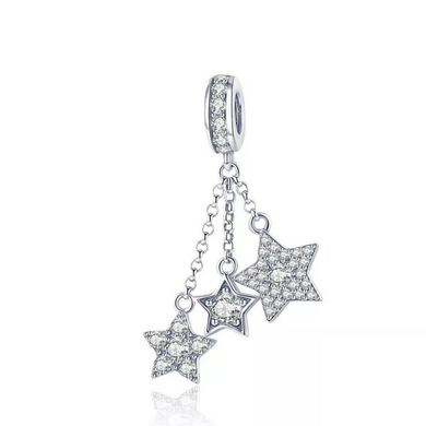 925 Sterling Silver Sparkling Star Meteor Pandora Compatible Dangle Charm