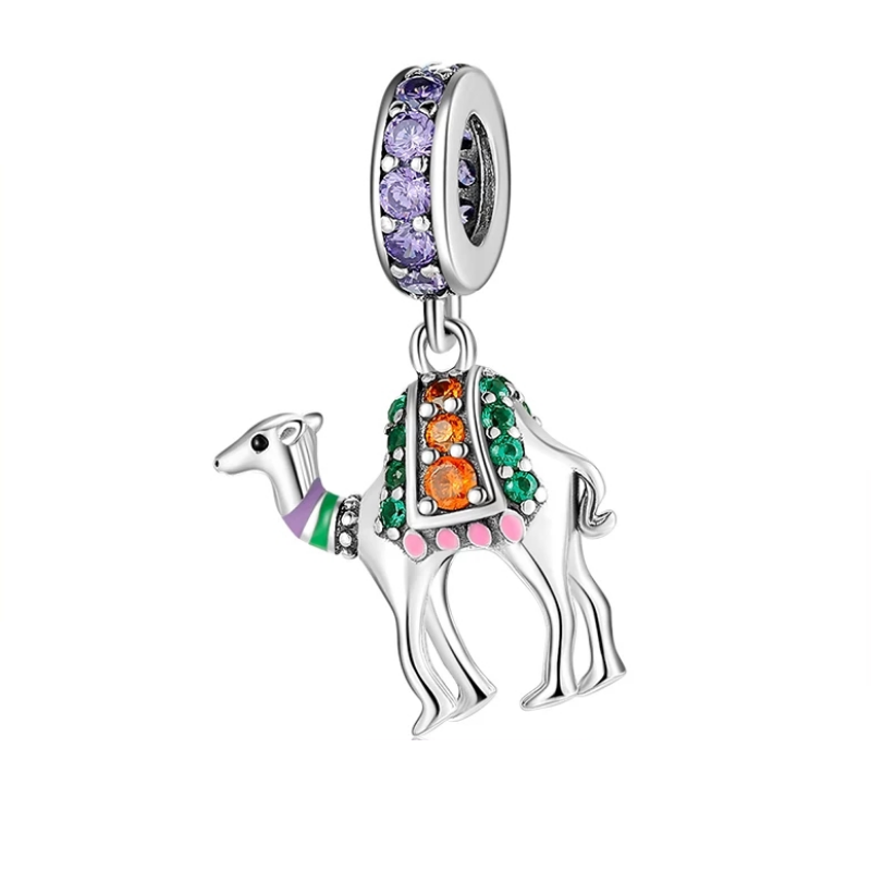 925 Sterling Silver Coloured CZ Camel Pandora Compatible Dangle Charm