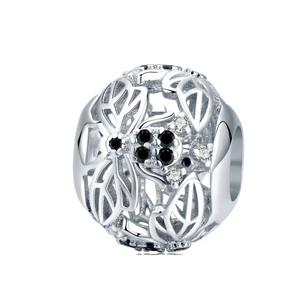 925 Sterling Silver Black and Silver Bee Ball Pandora Compatible Bead Charm