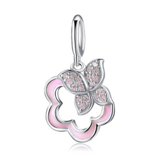 Load image into Gallery viewer, 925 Sterling Silver Pink Butterfly and Flower Pandora Compatible Dangle Charm
