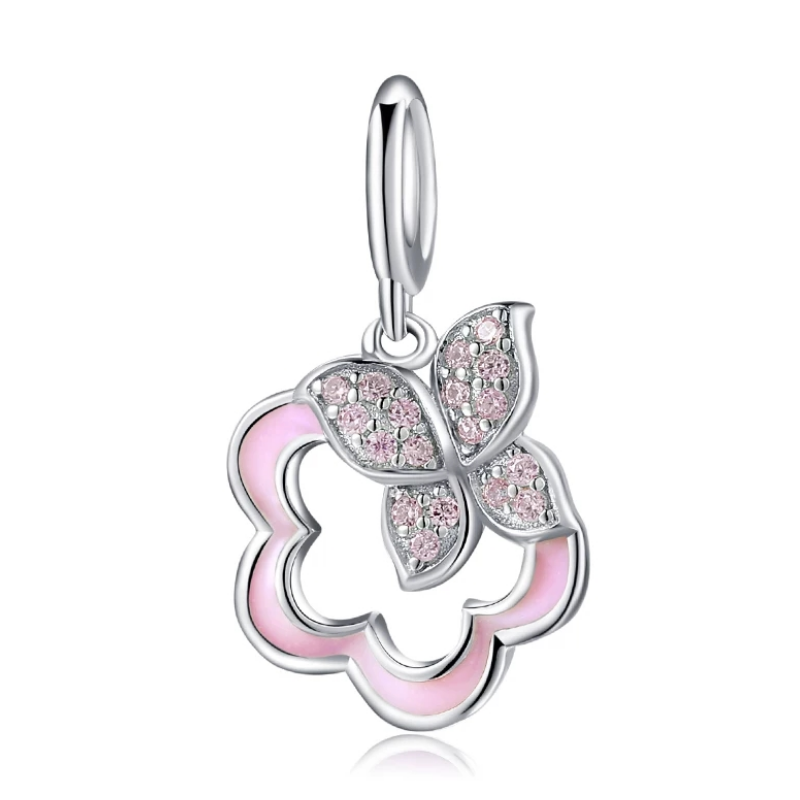 925 Sterling Silver Pink Butterfly and Flower Pandora Compatible Dangle Charm
