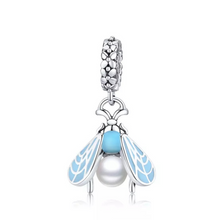 Load image into Gallery viewer, 925 Sterling Silver Blue Moth Pandora Compatible Dangle Charm