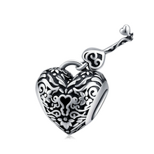 Load image into Gallery viewer, 925 Sterling Silver Lock and Key Heart Pandora Compatible Charm