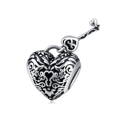 925 Sterling Silver Lock and Key Heart Pandora Compatible Charm