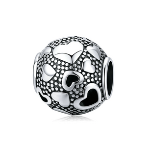 925 Sterling Silver Retro Heart Pandora Compatible Charm