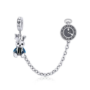 925 Sterling Silver Alice in Wonderland Pandora Compatible Safety Chain
