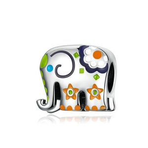 925 Sterling Silver Colourfull Elephant Pandora Compatible Charm