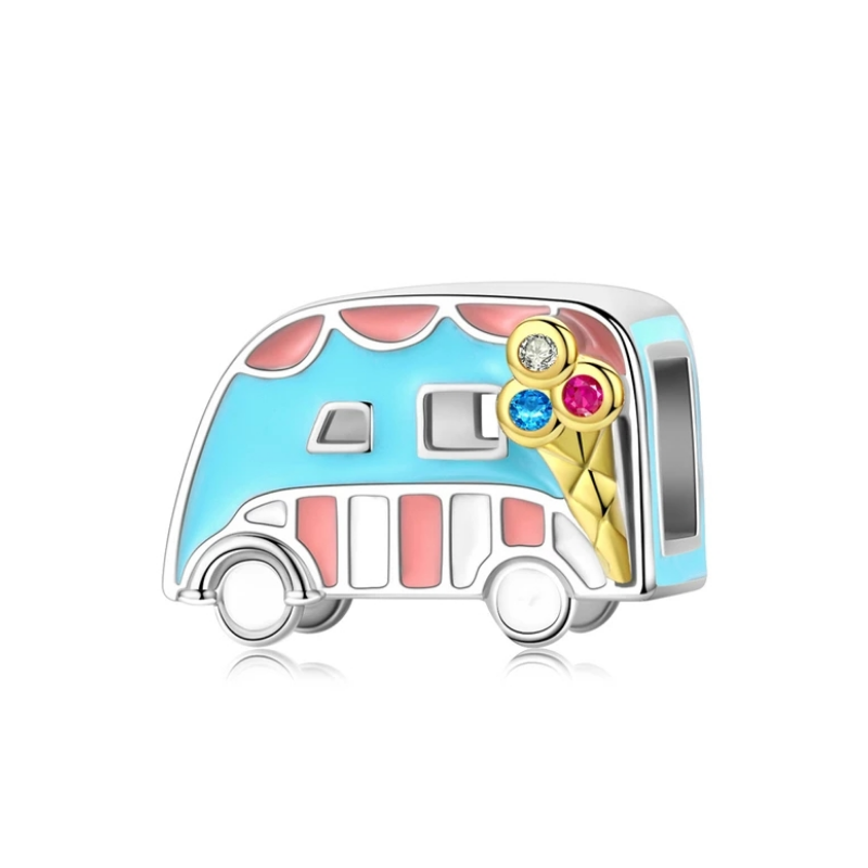925 Sterling Silver Ice Cream Van Pandora Compatible Bead Charm