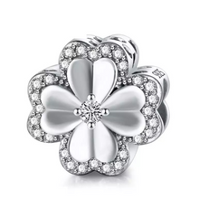 Load image into Gallery viewer, 925 Sterling Silver CZ Clover Pandora Compatible Charm
