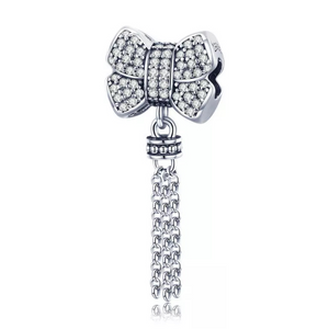 925 Sterling Silver CZ Bow Tassle Pandora Compatible  Charm
