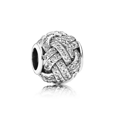 925 Sterling Silver CZ Weaved Pandora Compatible Charm