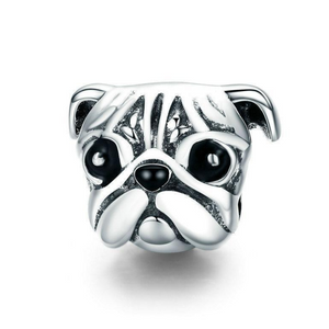 925 Sterling Silver Cute Pug Face Pandora Compatible Bead Charm